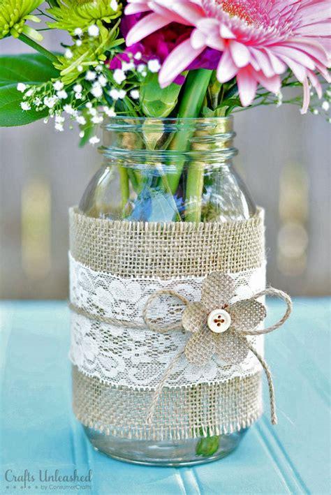 jar centerpieces with burlap lace