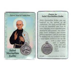 maximilian kolbe prayer card with medal