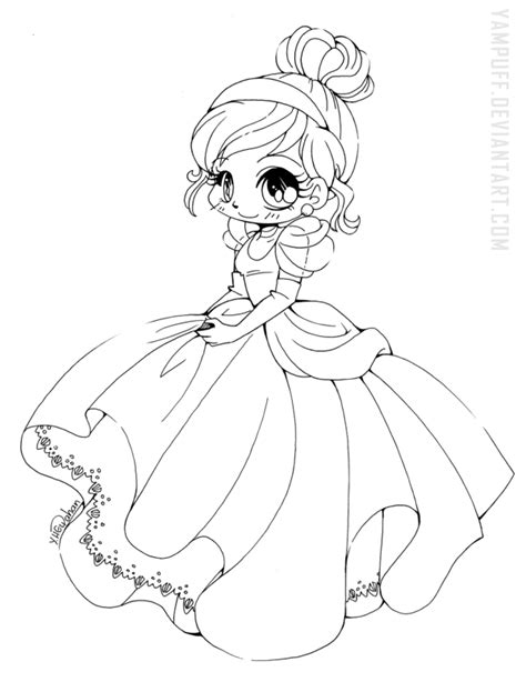chibi princess coloring pages cinderella chibi lineart by yampuff on deviantart