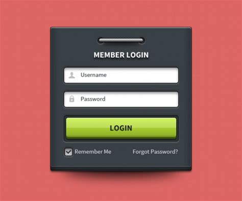 login box with username and password psd file free download