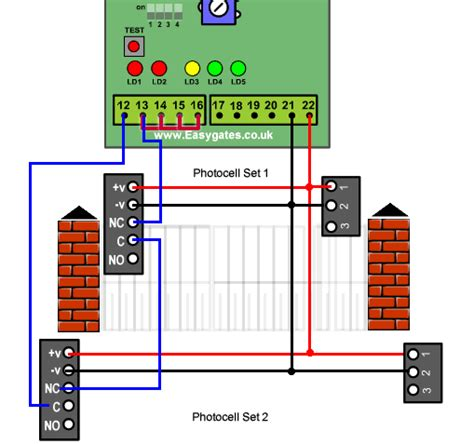 gate photocell wiring diagram installing two sets of photocells to the cb1 control panel
