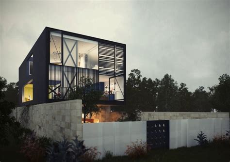 glass box house conceptualized street view of the glass box house decoist