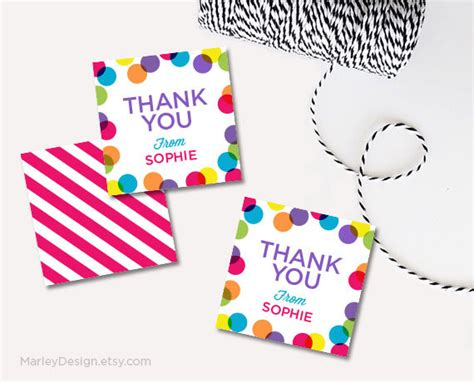 free printable birthday gift tags personalized personalized thank you tags birthday tags bright polka dots