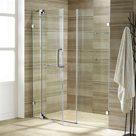 48 Pivot Shower Door Vigo Pirouette 48 In X 72 In Adjustable Semi Framed Pivot Shower Door In Chrome With Clear