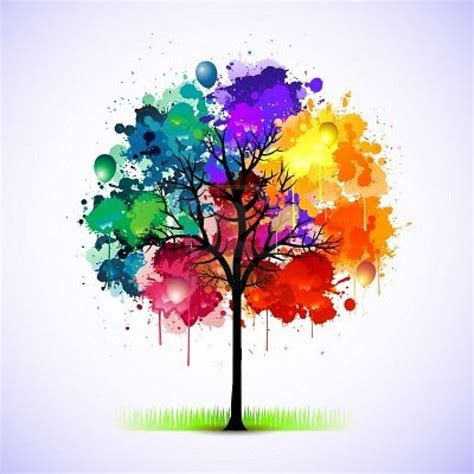 rainbow watercolour and ink tree water color techniques