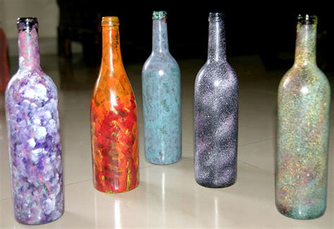 voices from within paint on old wine bottles