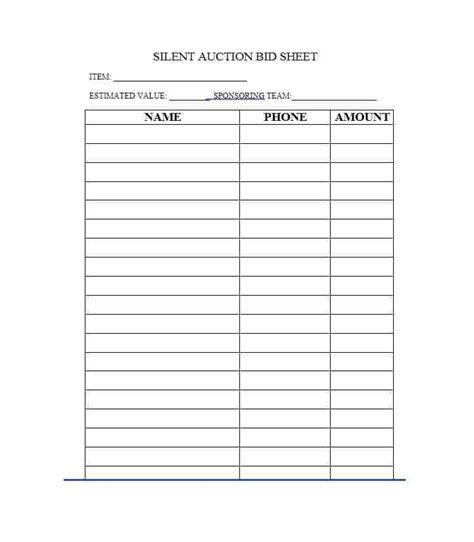 bid free free silent auction bid sheet templates word excel