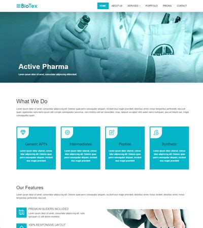 bootstrap templates for hospital biotex pharma industry corporate html web template webthemez