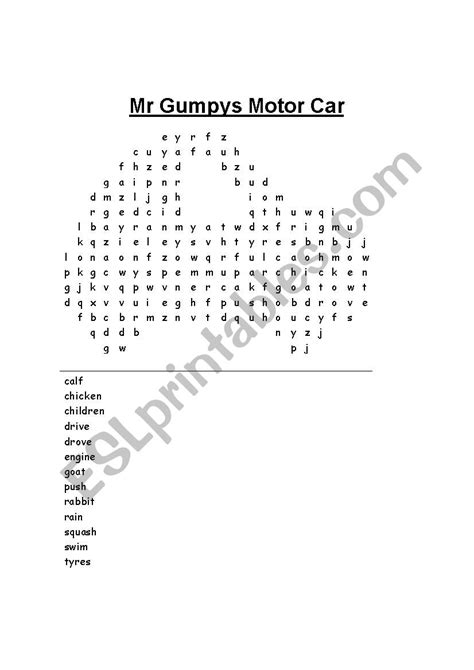 English worksheets: Mr Gumpy´s Motor Car wordsearch