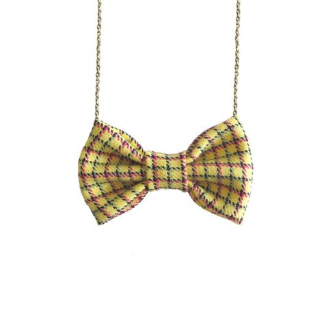 Ac01 Stripe Tie Necklace yellow plaids bow tie necklace yellow striped bowtie