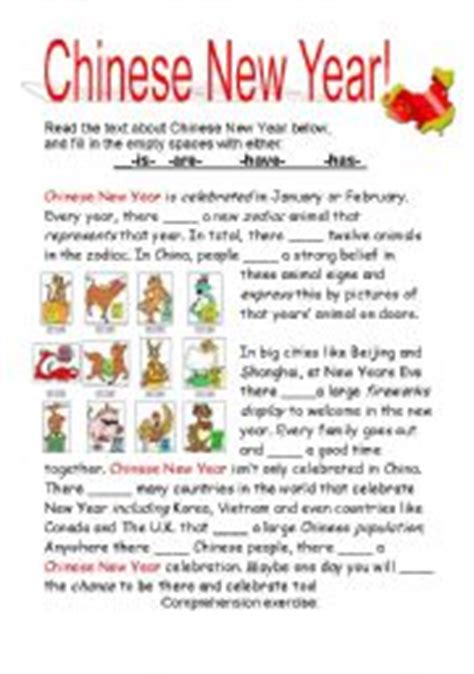 new year story intermediate esl worksheets new year