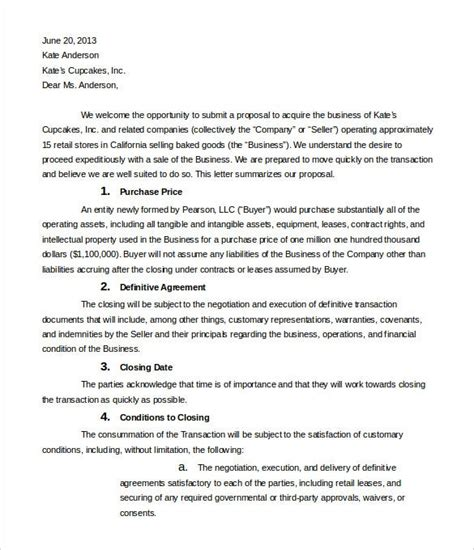 business letter intent templates sample