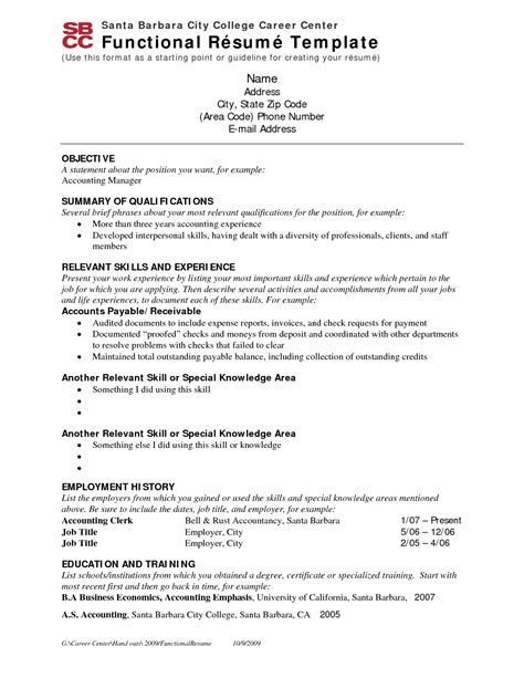 skill based resume sles functional resume for accounting