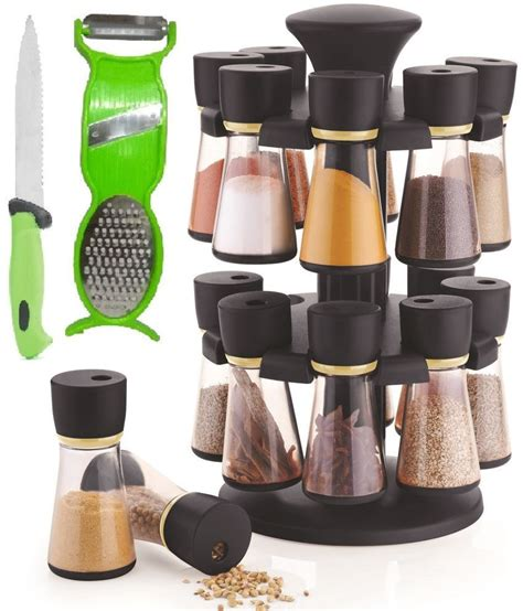 Jen Combo by Jen Combo Of 16 Jar Black Spice Rack Masala Rack 1 Pcs
