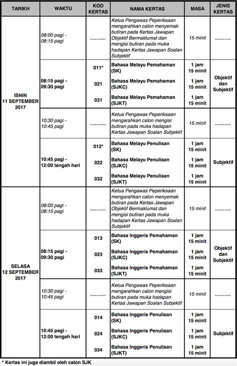 ujian upsr 2017 jadual waktu tarikh peperiksaan upsr 2017 exam date calendar