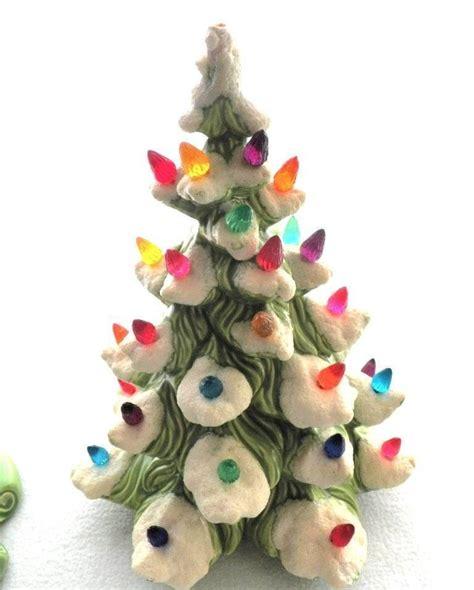 21 atantic mold flocked ceramic christmas tree vintage atlantic mold ceramic tree 16 quot flocked snow works artificial trees