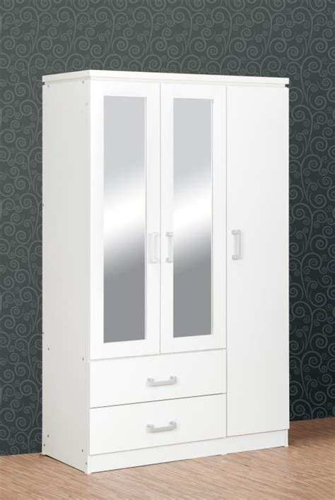 Charles 3 Door Mirrored Wardrobe   White Bedroom Furniture