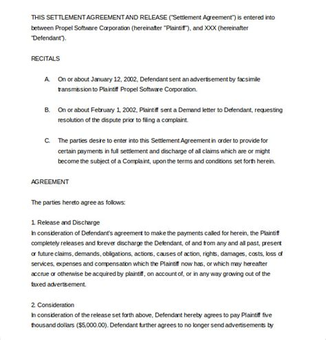 settlement agreement template 16 free word pdf