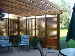 pergola with privacy screening this with planters around