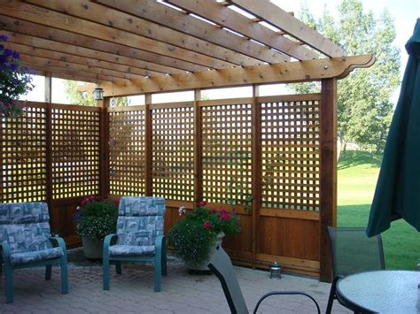 privacy pergola pergola with privacy screening this with planters around