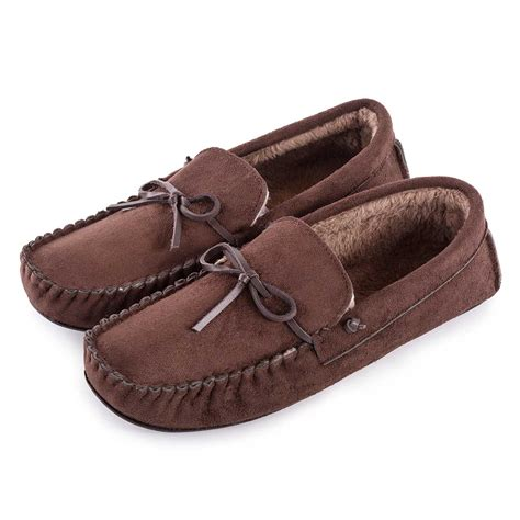 mens moccasin house shoes totes mens suedette moccasin slippers ebay