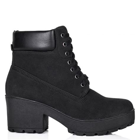 buy anguila heeled cleated sole ankle boots black nubuck