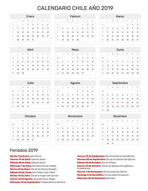 Calendario Chile Calendario Chile A 241 O 2019 Feriados