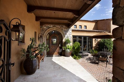 Mediterranean Home Plans With Courtyards by Front Entry Courtyard Mediterranean Patio Other
