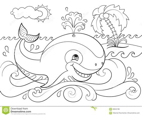 ocean background coloring page whale cute cartoon illustration animals on white