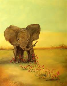 Unique Painting positive art print of a painting elephant 11 215 14 cute