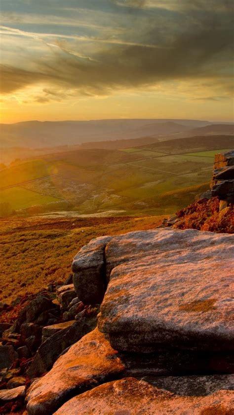 sunset england peak district national park wallpaper
