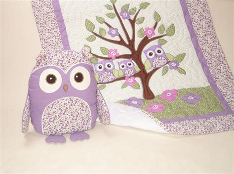 organic owl quilt baby girl crib bedding owl pillow