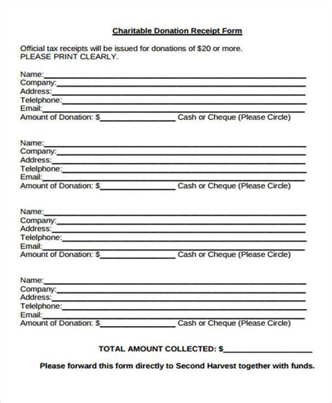 charitable receipt template 36 printable receipt forms sle templates