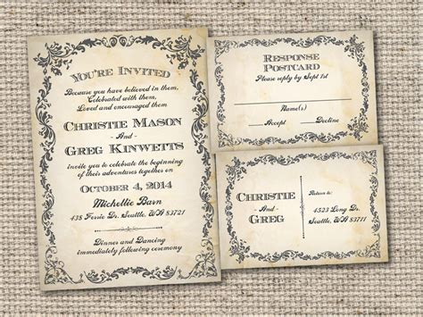 free vintage invitation templates vintage wedding invitation templates theruntime