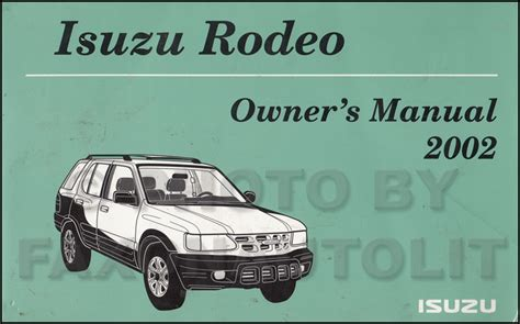 car repair manuals download 2002 isuzu rodeo sport free book repair manuals 2002 isuzu rodeo owner s manual original