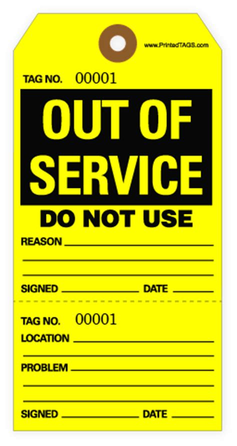 printable repair tags out of service tags for dangerous or inoperable equipment
