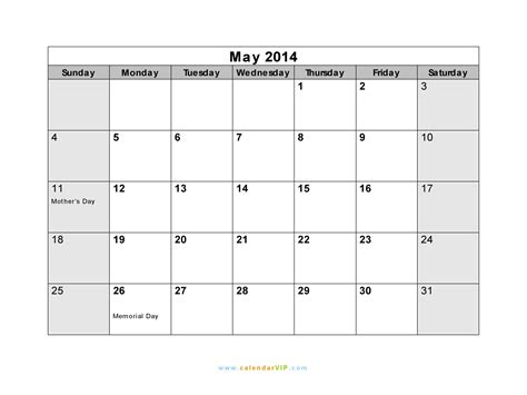 2014 May Calendar May 2014 Calendar Blank Printable Calendar Template In