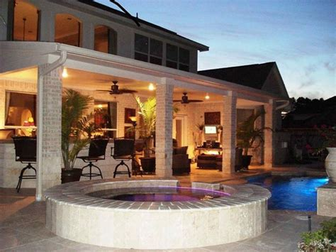 Houston Poolside Covered Patio With Night Lighting Covered Patio Lighting