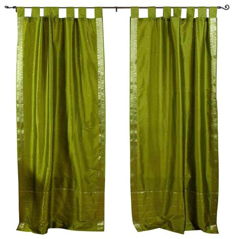 olive green curtain panels pair of olive green tab top sheer sari curtains 60 x 108