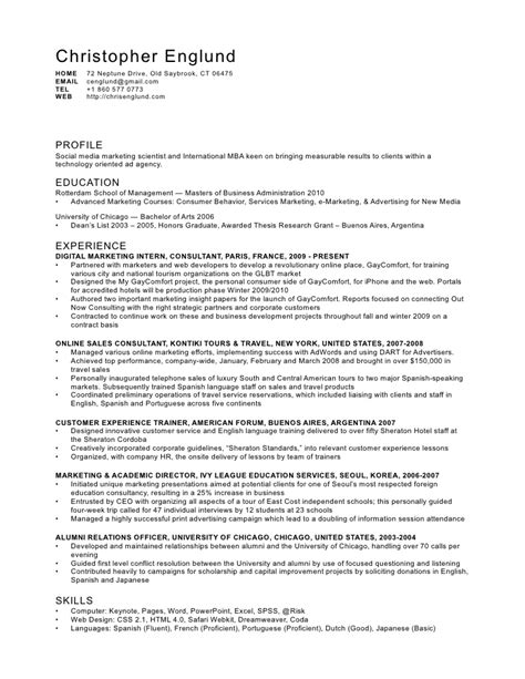 marketing cv exle graduate digital marketing cv