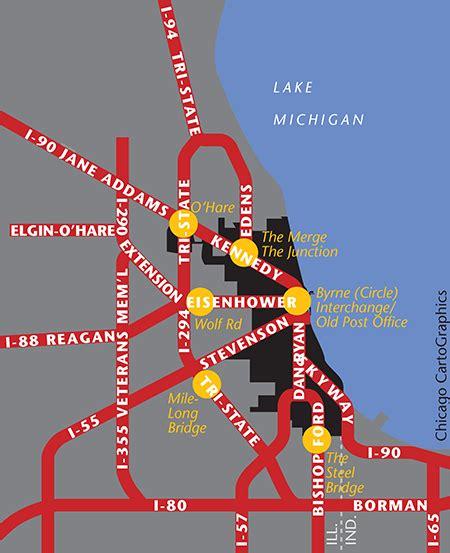 chicago expressways map chicago in maps