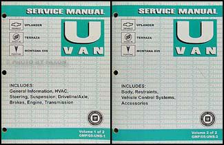 chevrolet uplander 2006 owners manual download manuals tech 2005 gm uplander terraza montana sv6 repair shop manual 2 vol set original
