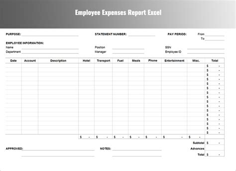 expenses report template free word excel download