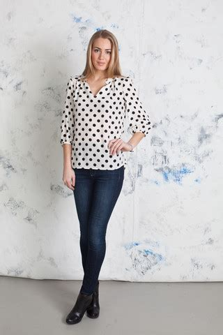 Maura Polka by Griffin Blouses And Pops Of Pink