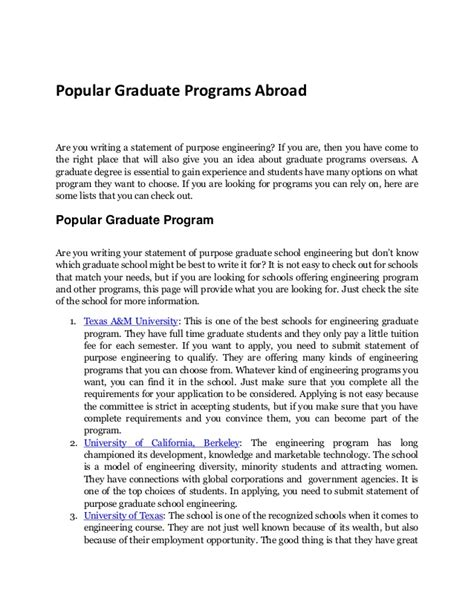 statement of objectives graduate school exle graduate programs where to send your statement of purpose
