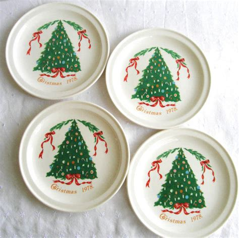 vintage christmas tree plates by lillian from
