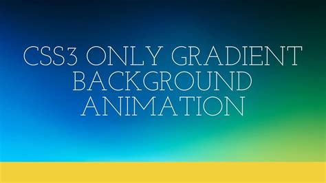 Beautiful Animation With Css3cd Penerbit css3 only gradient background animation