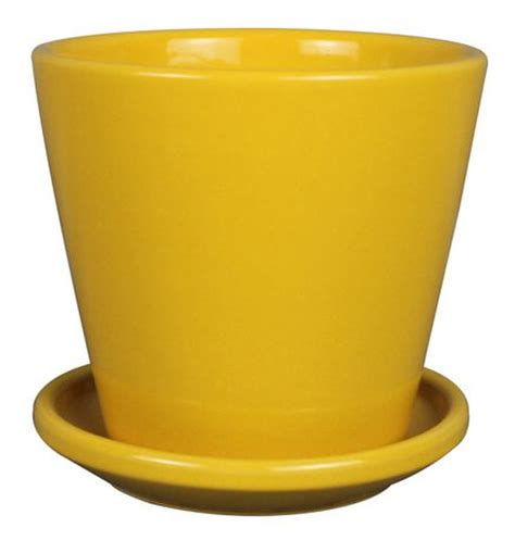 hometrends 5 inch yellow taper ceramic planter