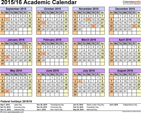 academic calendars 2015 2016 as free printable word templates