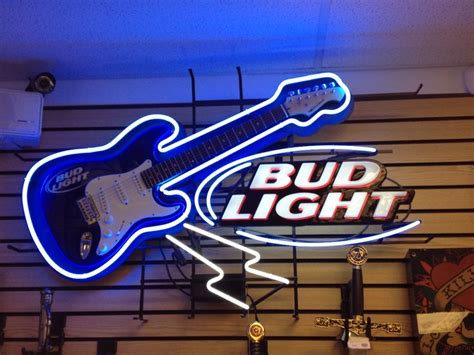 bud light neon sign wguitar  sale    cash